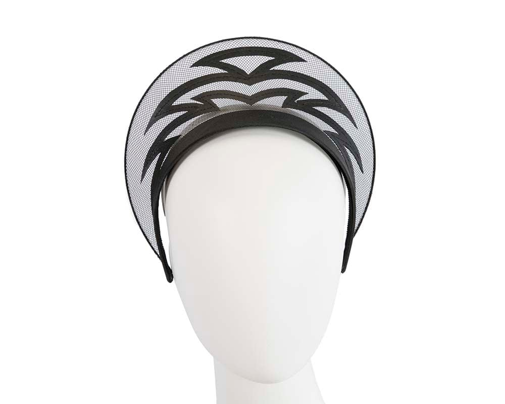 Exclusive laser-cut black crown fascinator