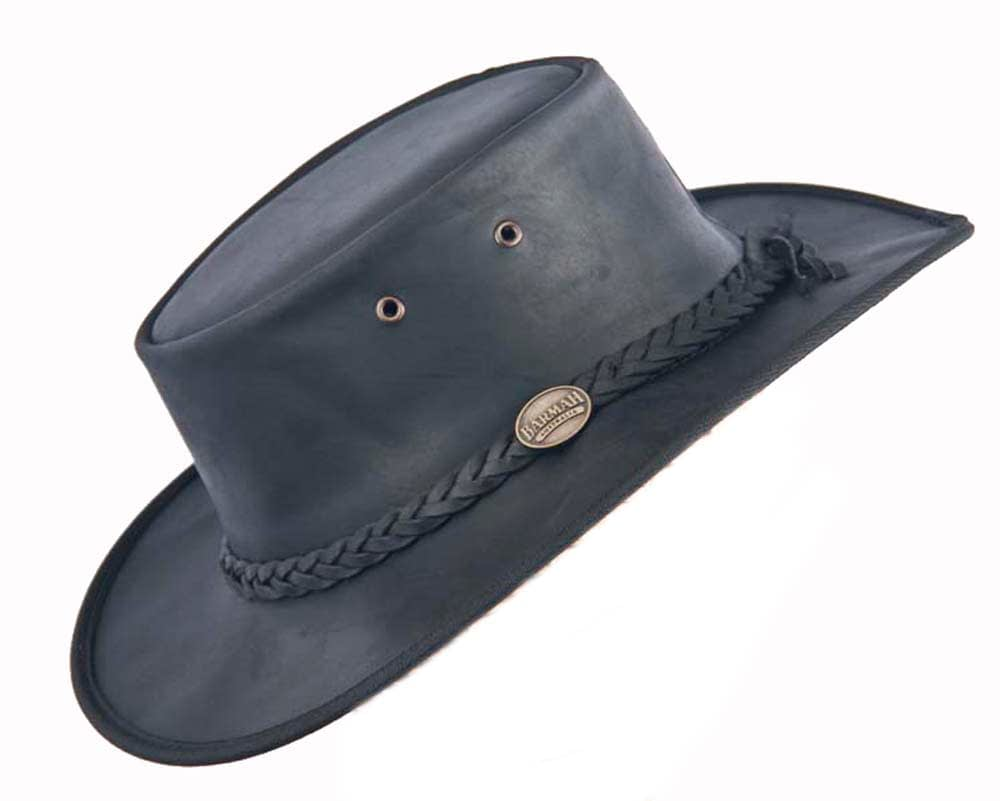 Black Australian Leather Bush Outback Barmah Hat