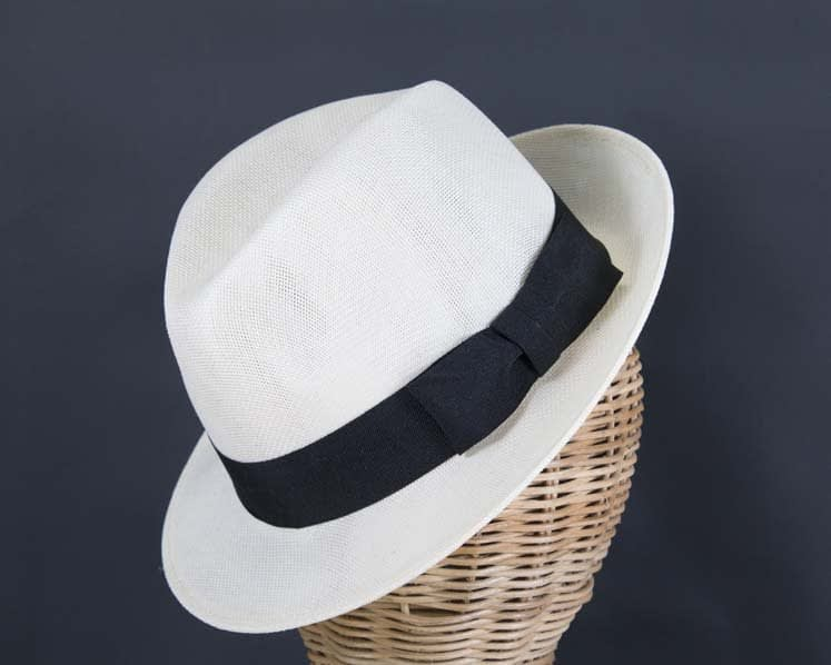 Cream mens summer fedora hat