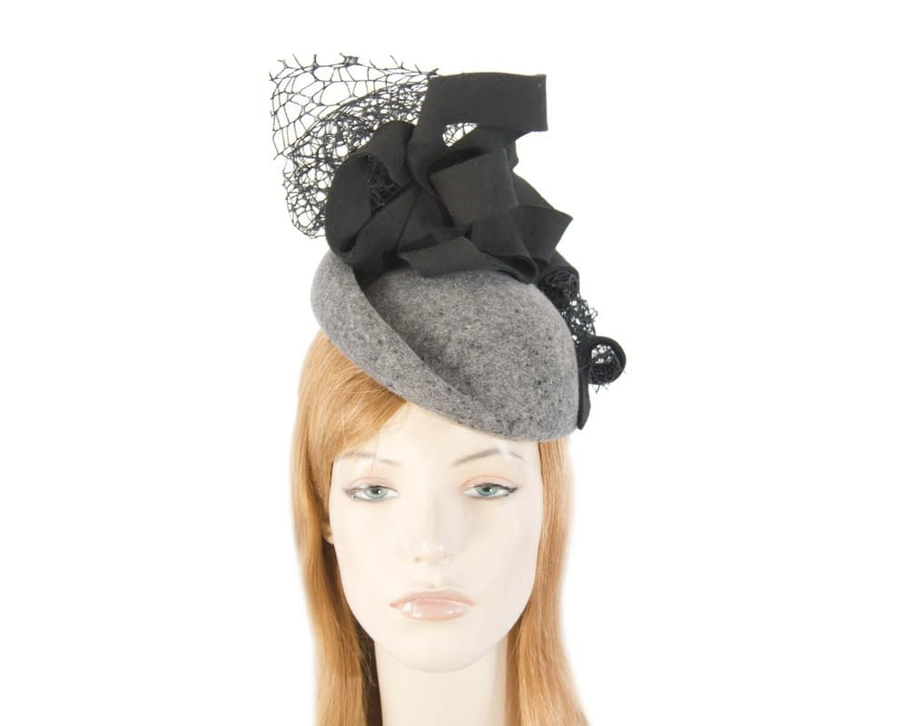 Bespoke marle grey felt winter fascinator