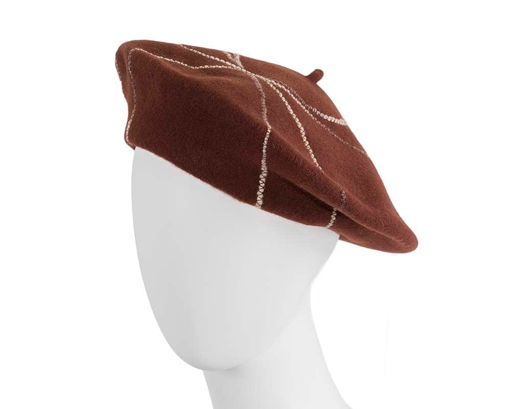Brown french beret with spirals by Max Alexander