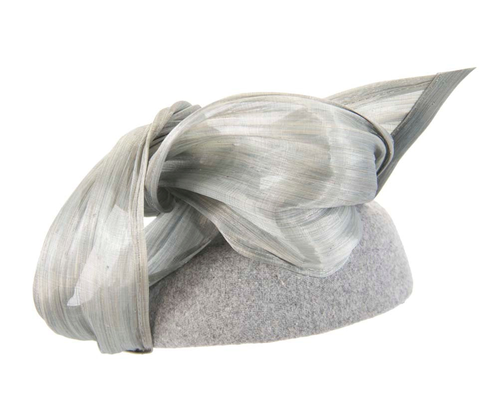 Silver winter pillbox with silk abaca trim