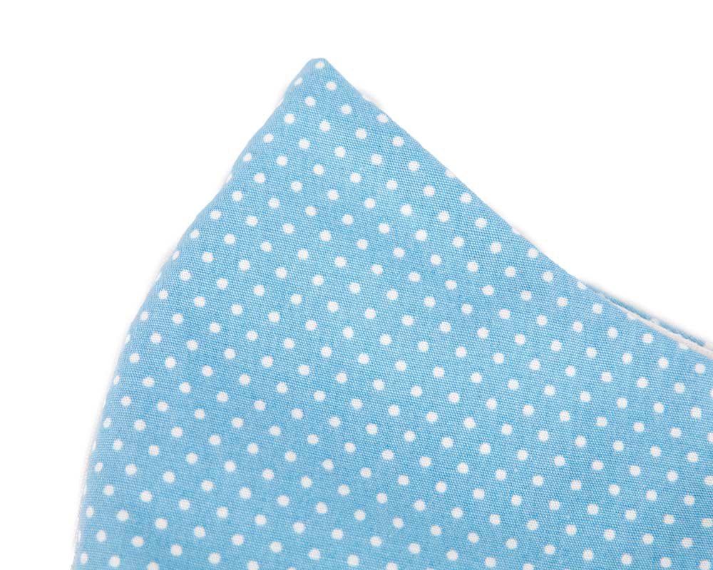 Comfortable re-usable blue cotton face mask with white dots