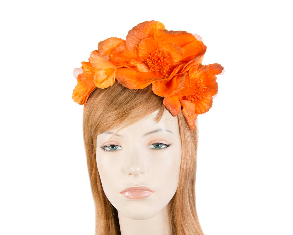 Orange Flower Fascinator Headband
