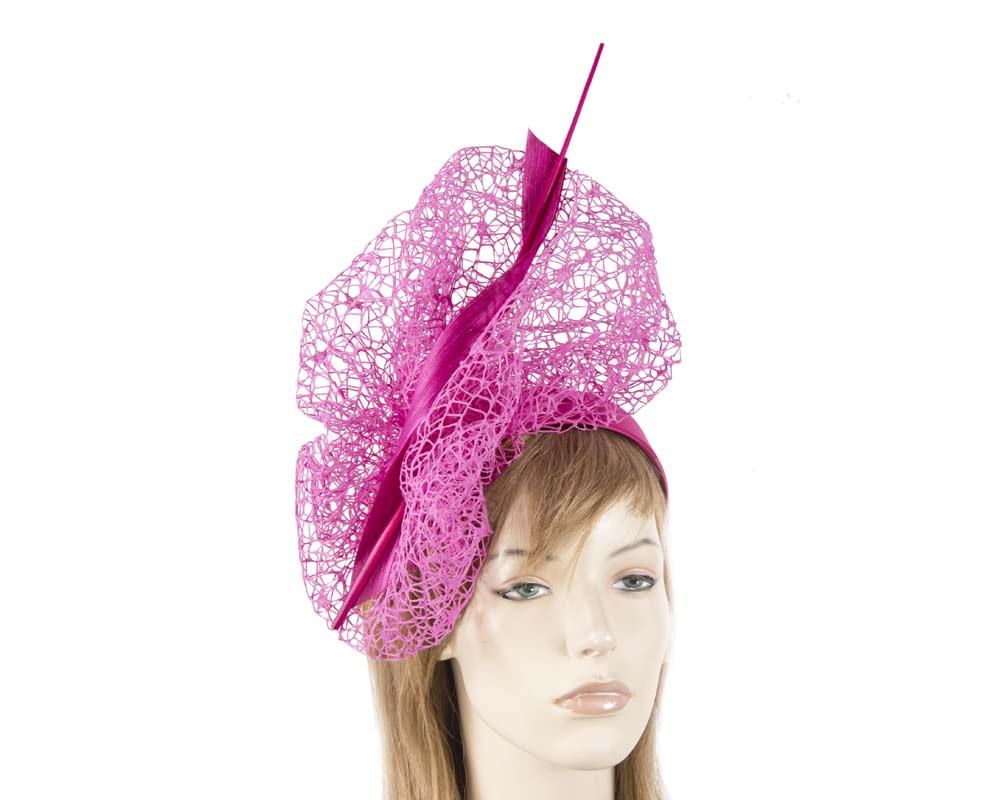 Bespoke fuchsia lace fascinator