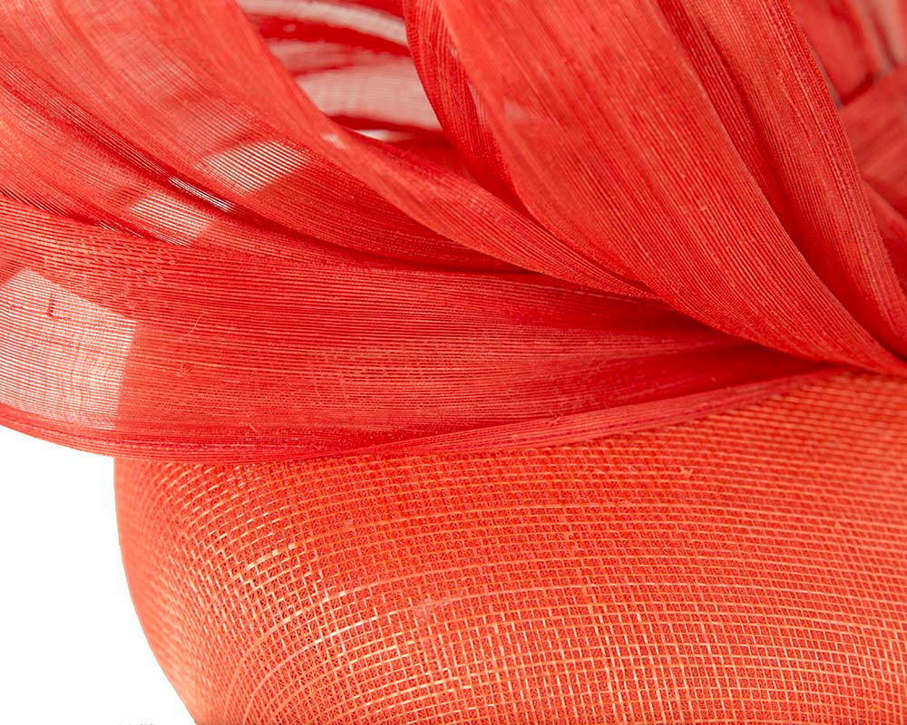 Orange pillbox fascinator with silk abaca bow by Fillies Collection