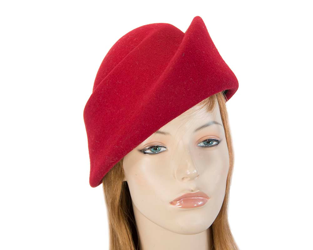 Unique red ladies winter felt fashion hat