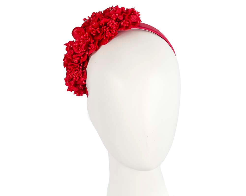 Red flower headband racing fascinator
