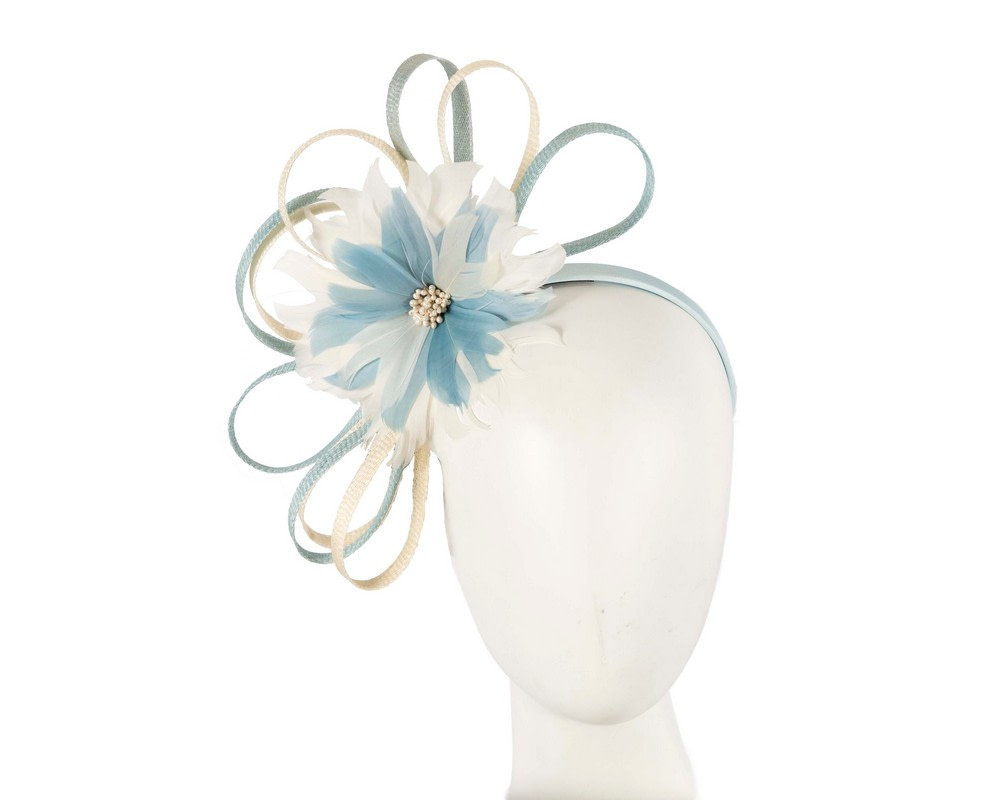 Large blue & cream feather flower fascinator by Max Alexander