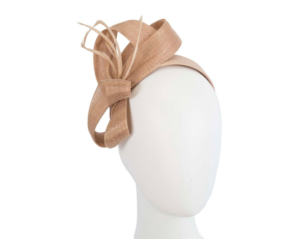 Nude abaca loops and feathers racing fascinator by Fillies Collection