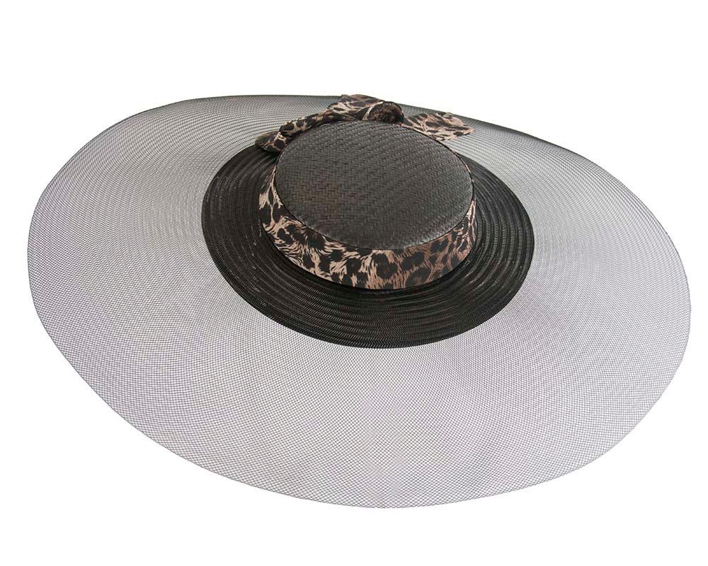 Bespoke black & leopard wide brim boater hat