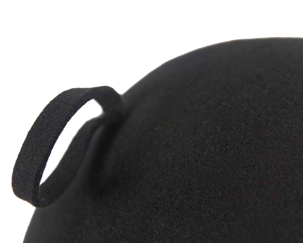 Black felt french beret hat by Cupids Millinery