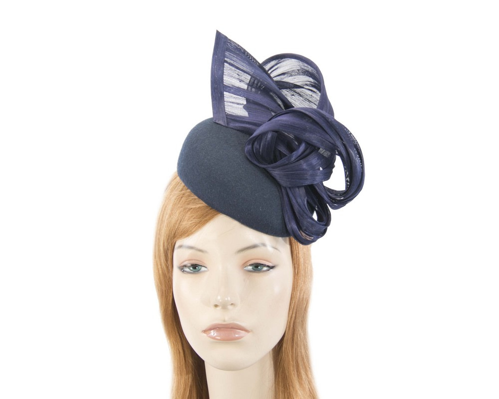 Navy winter pillbox with silk abaca trim