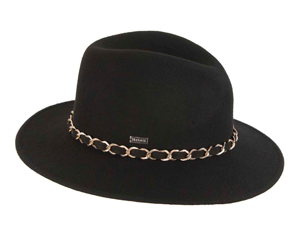 Black winter wide brim fashion trilby hat by Betmar NY