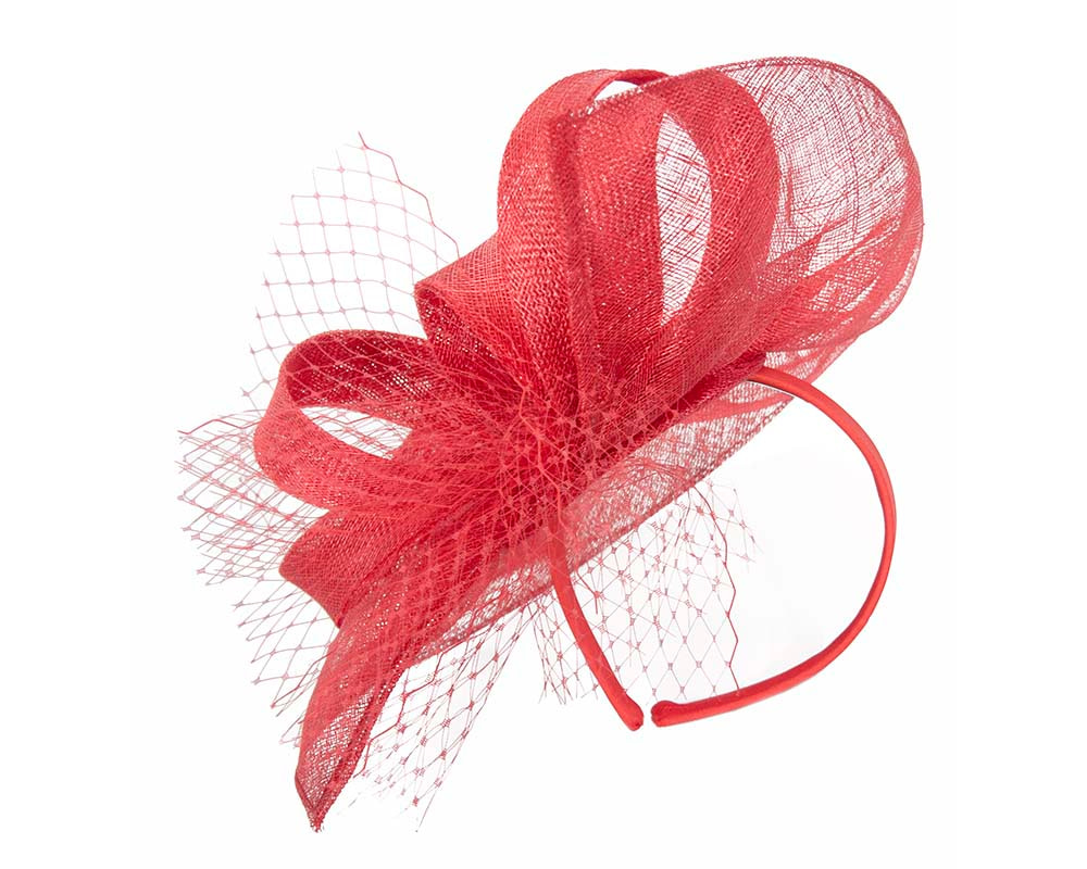 Large red sinamay racing fascinator by Max Alexander