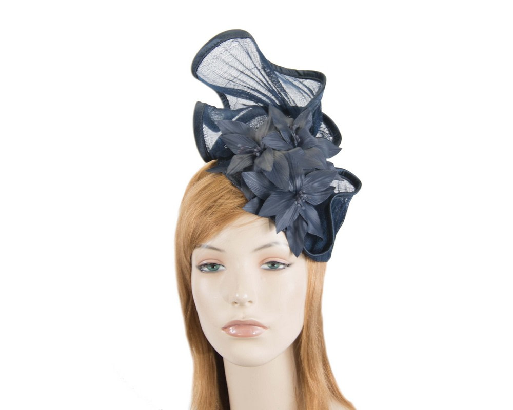 Sculptured navy fascinator with leather flowers