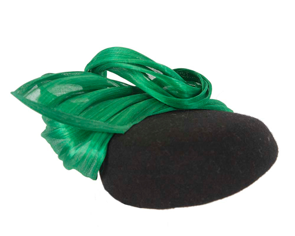 Black & green winter pillbox with silk abaca trim