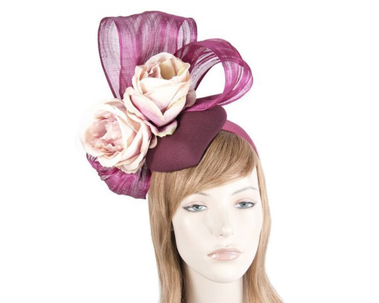 Bespoke Wine & Pink Winter fascinator