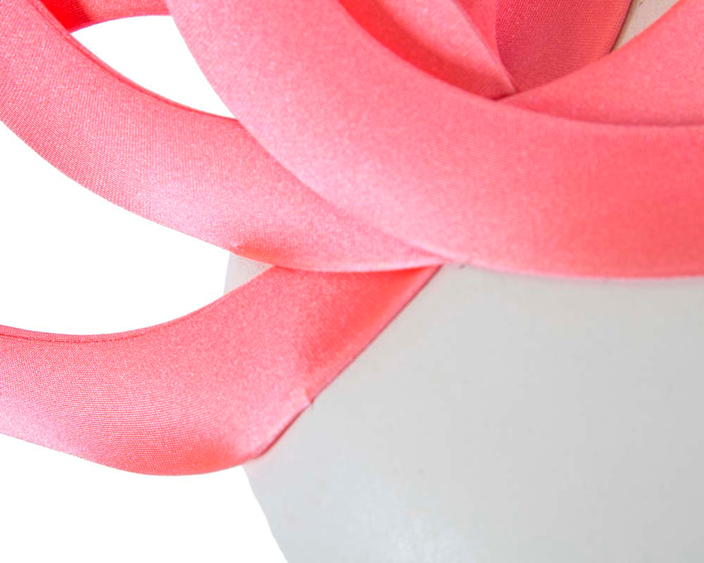 Coral & white leather designers winter racing fascinator