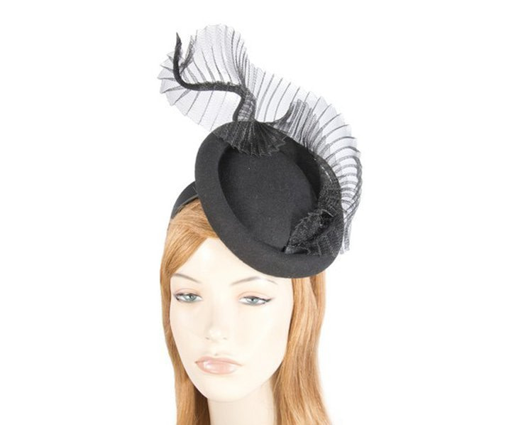 Tall black winter fascinator