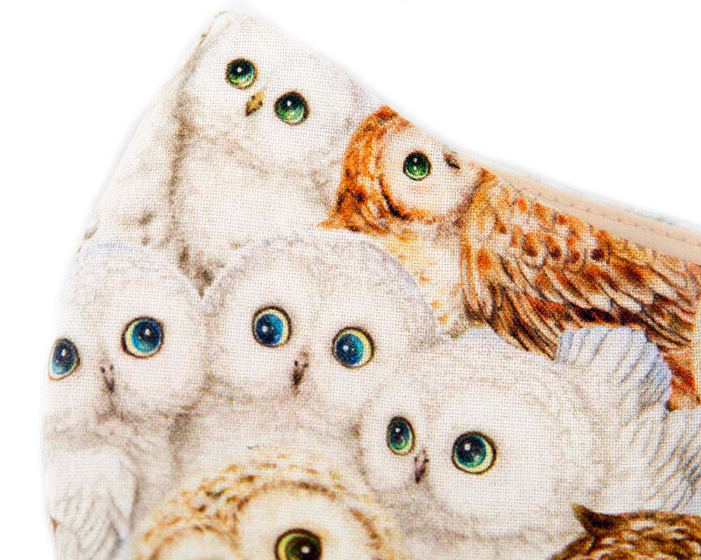 Comfortable re-usable cotton face mask for owl lovers