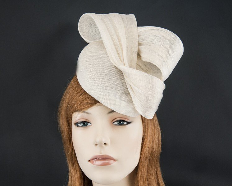 Cream pillbox fascinator for Melbourne Cup races by Fillies Collection