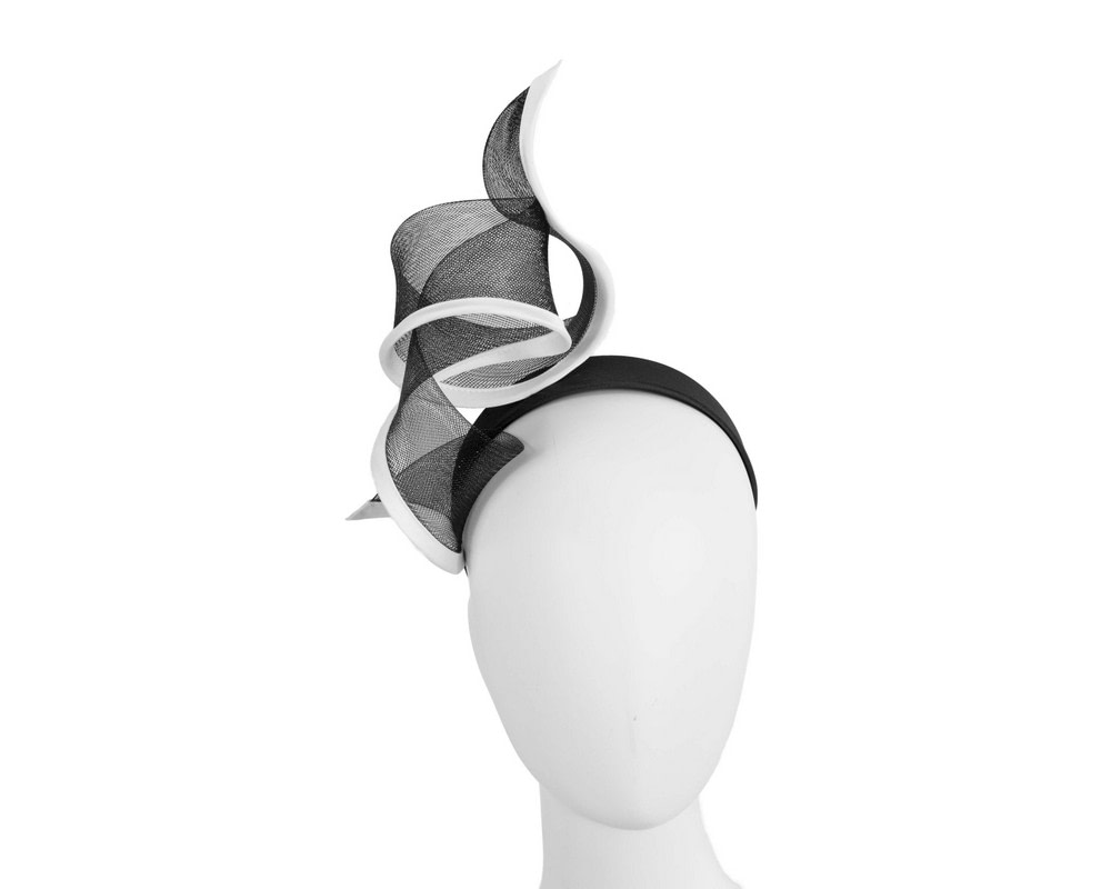Sculptured black & white racing fascinator by Fillies Collection