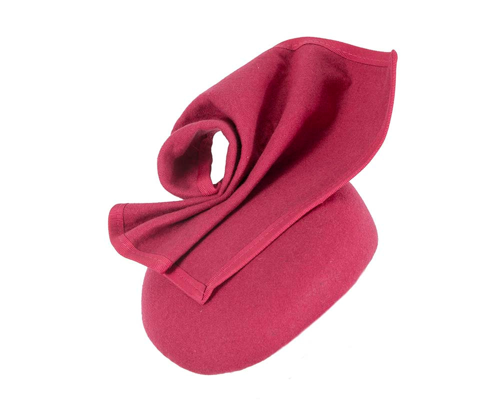 Fuchsia pillbox fascinator for winter autumn racing by Fillies Collection