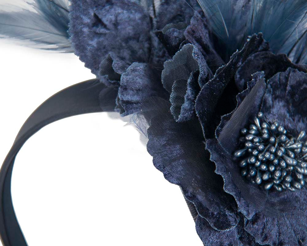 Navy designers flower fascinator