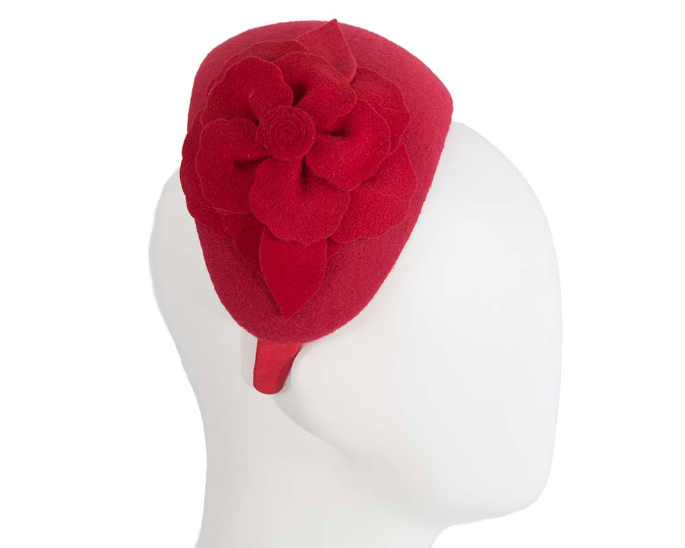Wide red winter headband with flower by Max Alexander