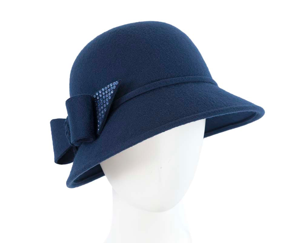 Elegant navy winter fashion bucket hat by Cupids Millinery