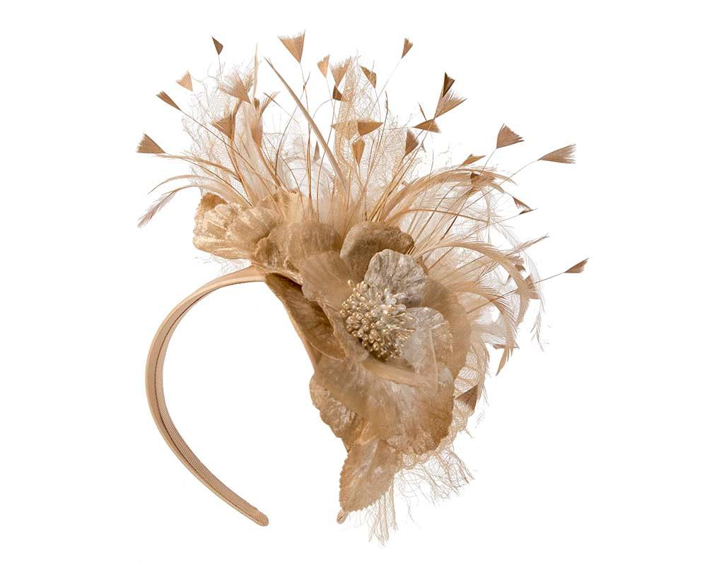 Gold designers flower fascinator