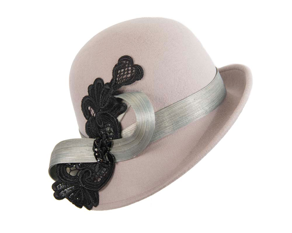 Grey cloche hat with lace trim