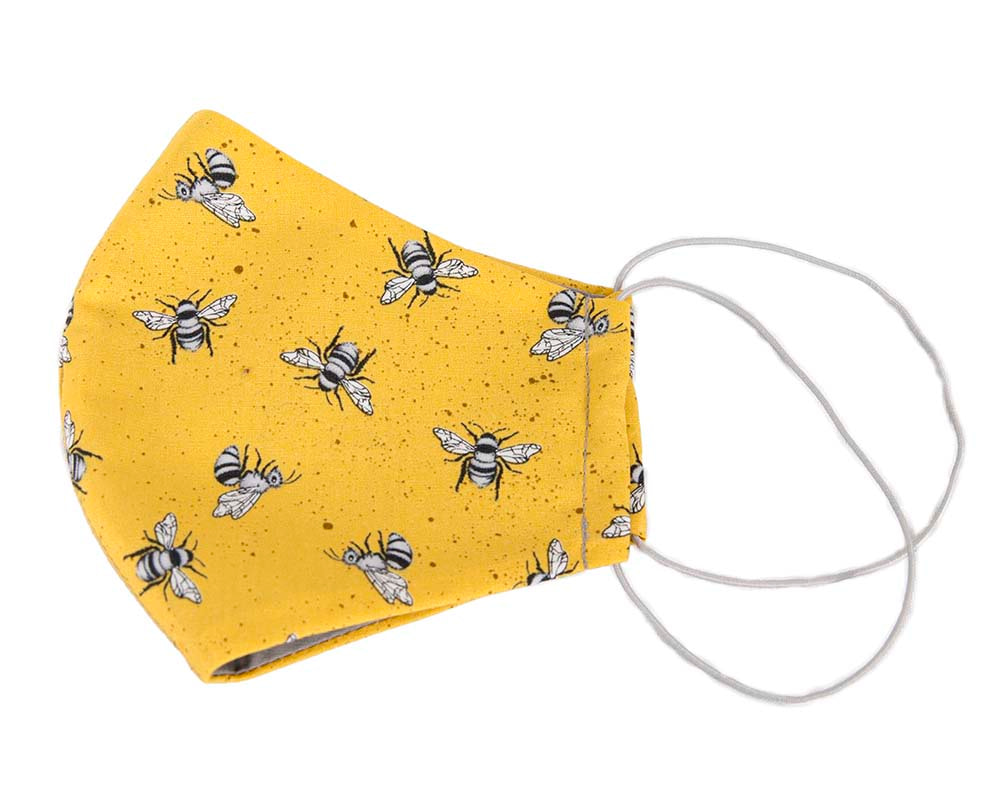 Comfortable re-usable cotton face mask with bees print