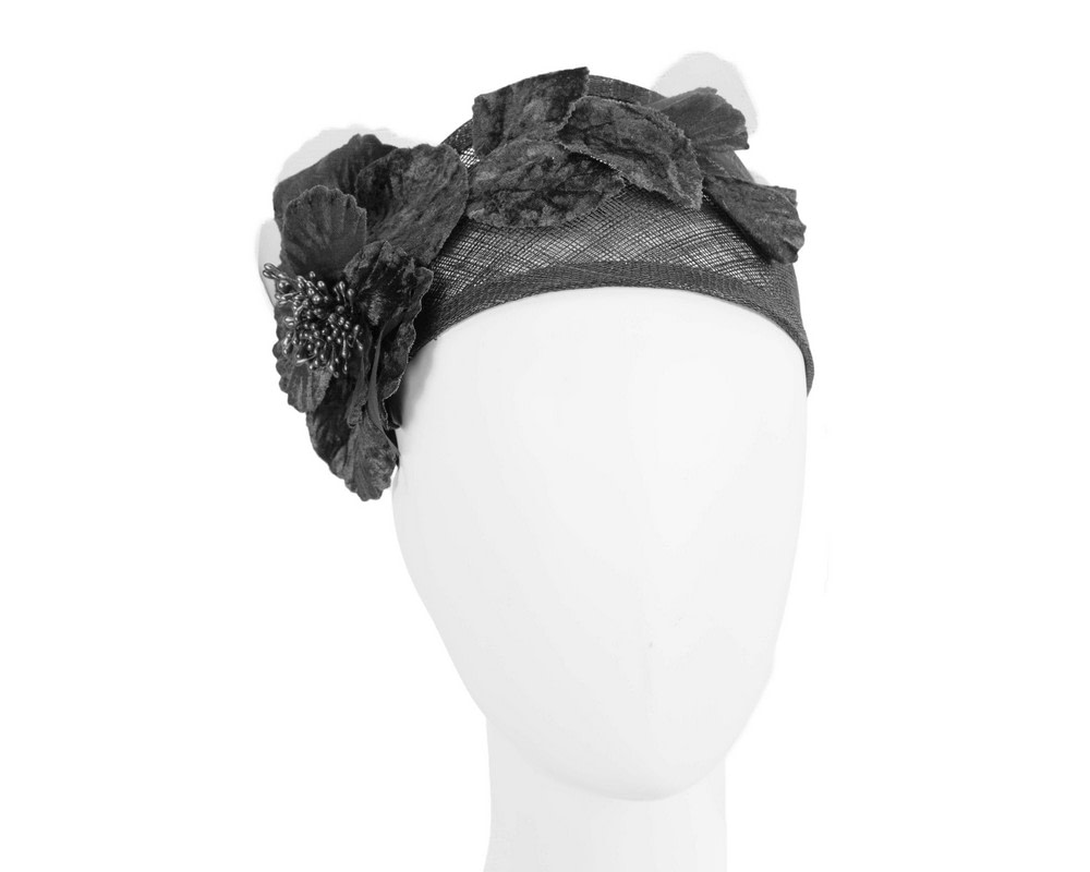 Wide black flower headband fascinator by Max Alexander