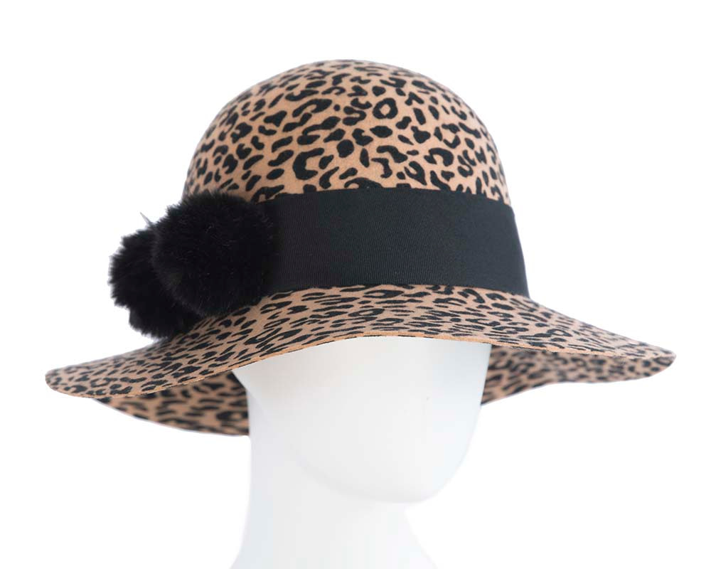 Wide brim ladies winter felt leopard cloche hat
