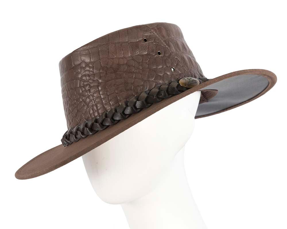Brown Australian Crocodile Print Leather Bush Outback Jacaru Hat