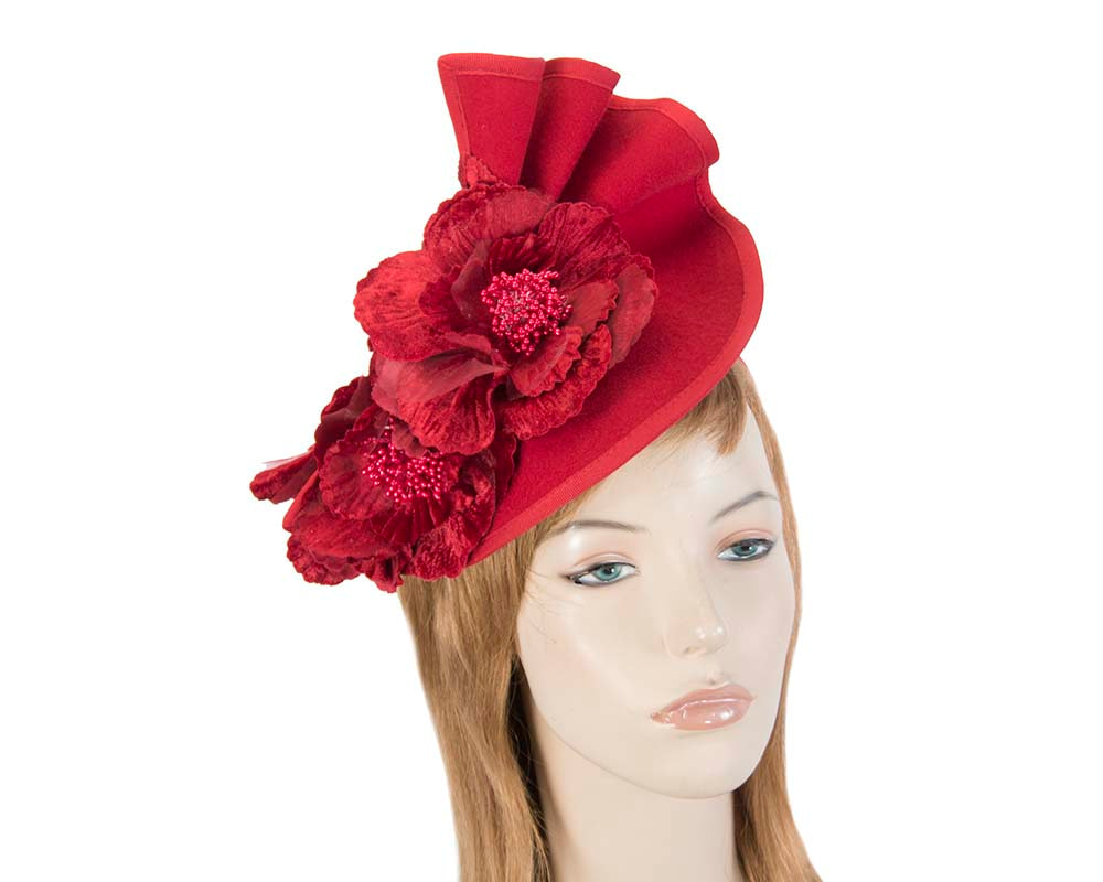 Large red felt flower fascinator F591R