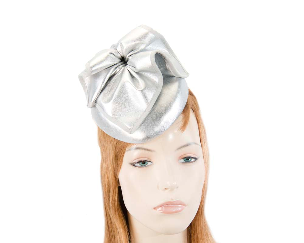 Silver leather racing pillbox fascinator