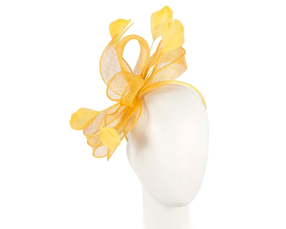 Yellow sinamay racing fascinator by Cupids Millinery