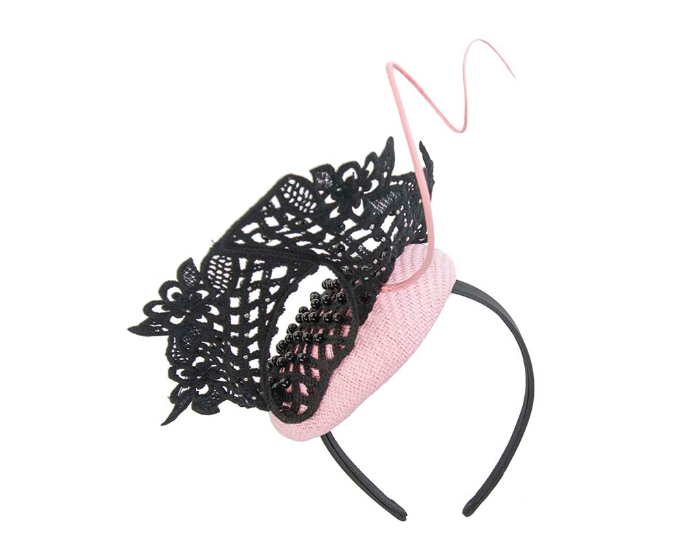 Pink & black racing fascinator with beaded lace by Fillies Collection