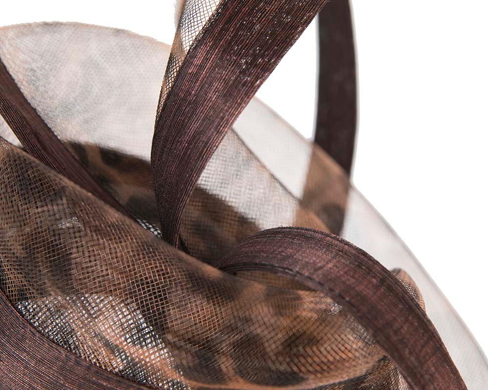 Edgy leopard print racing fascinator by Cupids millinery