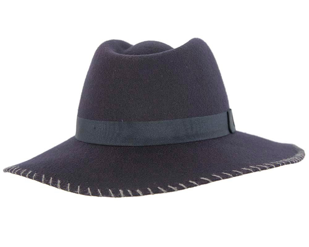 Navy wide brim fashion fedora hat by Cupids Millinery