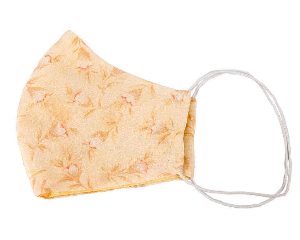Comfortable re-usable cotton face mask yellow flowers