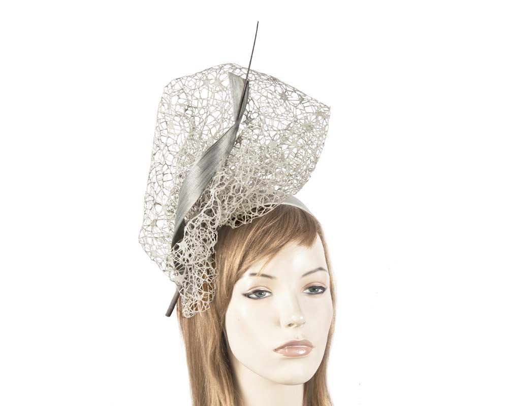 Bespoke silver lace fascinator
