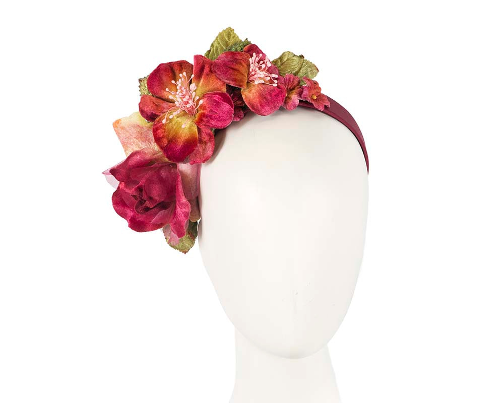 Burgundy flower headband fascinator by Max Alexander