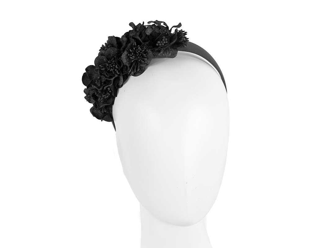 Black flower headband racing fascinator