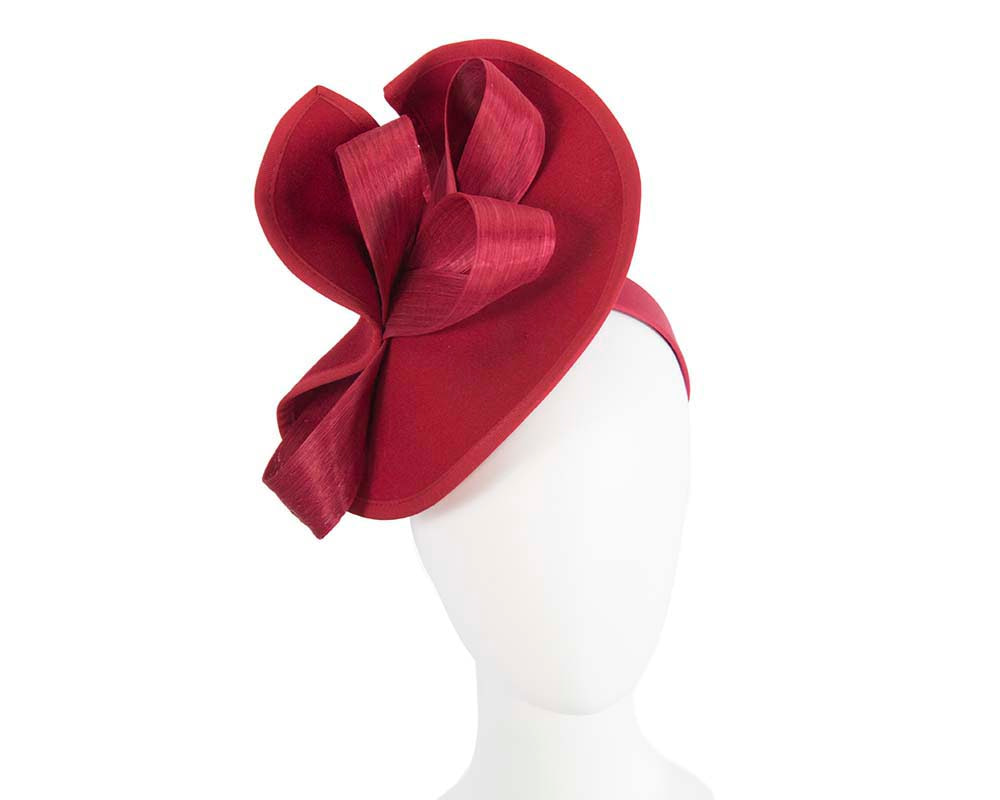 Twisted red felt fascinator by Fillies Collection