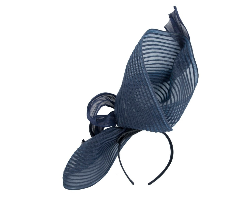 Tall navy bespoke racing fascinator by Fillies Collection