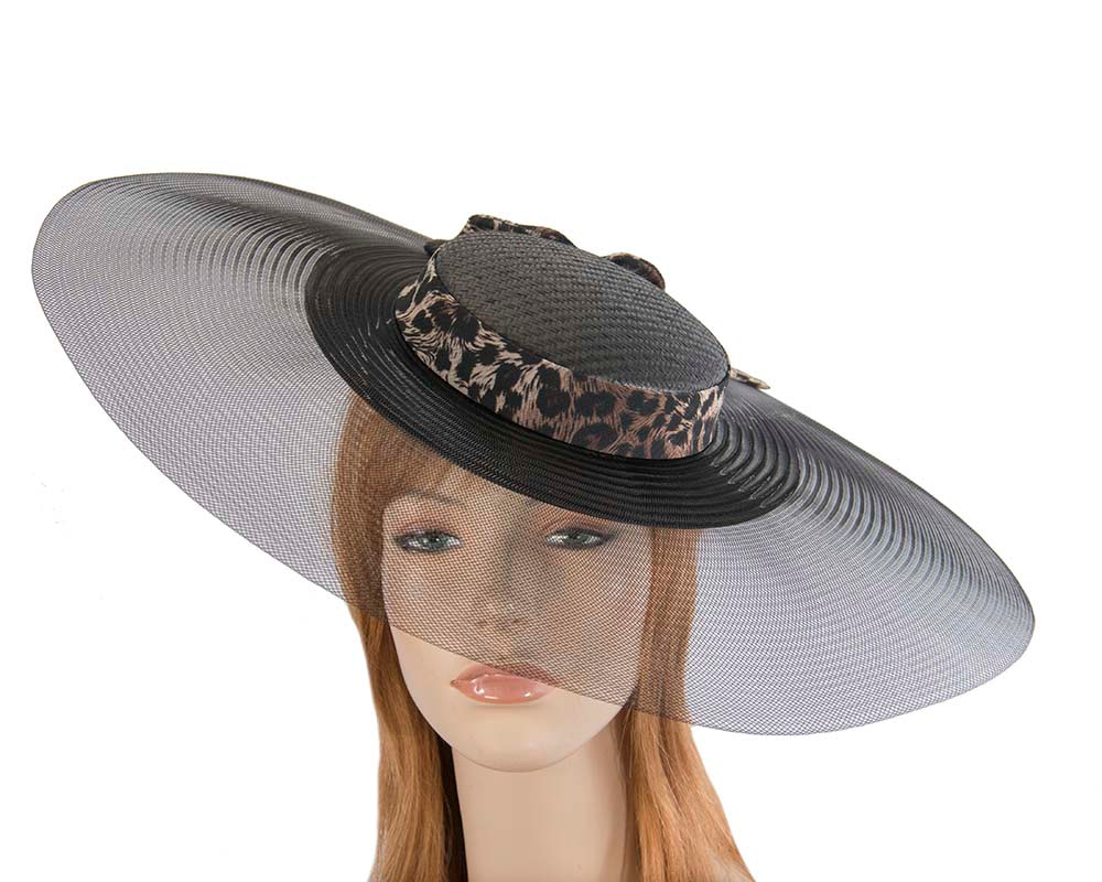 Bespoke black & leopard wide brim boater hat